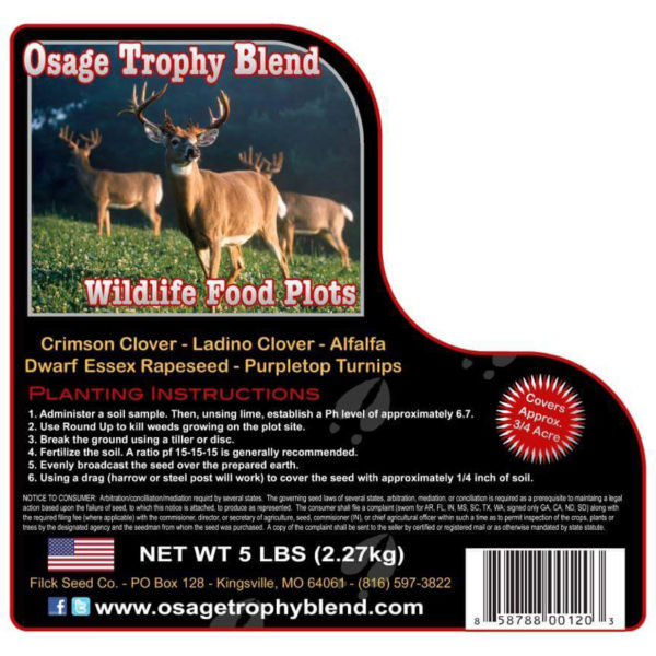 Osage Trophy Blend deer food plot